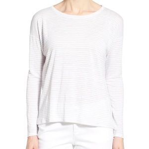 UO Silence + Noise White Stripe Crew Knit Sweater